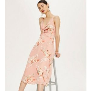TOPSHOP Floral Burnout Twist Front Midi Dress